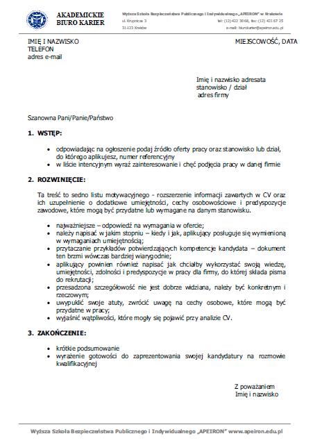Listu Motywacyjnego List Motywacyjny Wzór